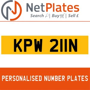 KPW 22N PERSONALISED PRIVATE CHERISHED DVLA NUMBER PLATE For Sale