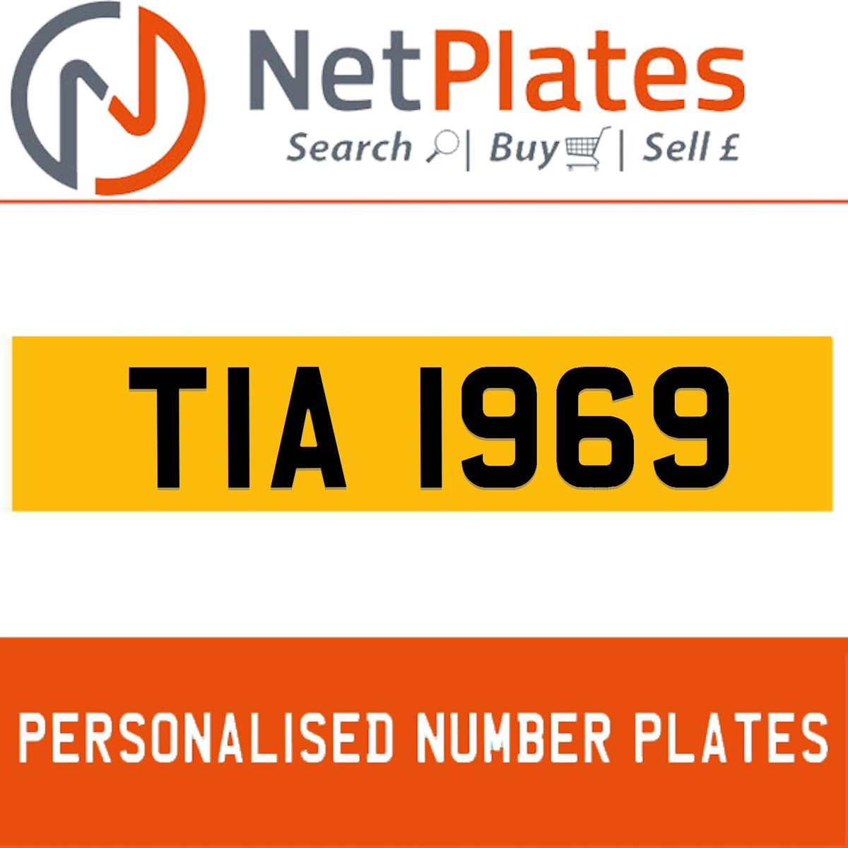 TIA 1969 PERSONALISED PRIVATE CHERISHED DVLA NUMBER PLATE For Sale (picture 1 of 5)