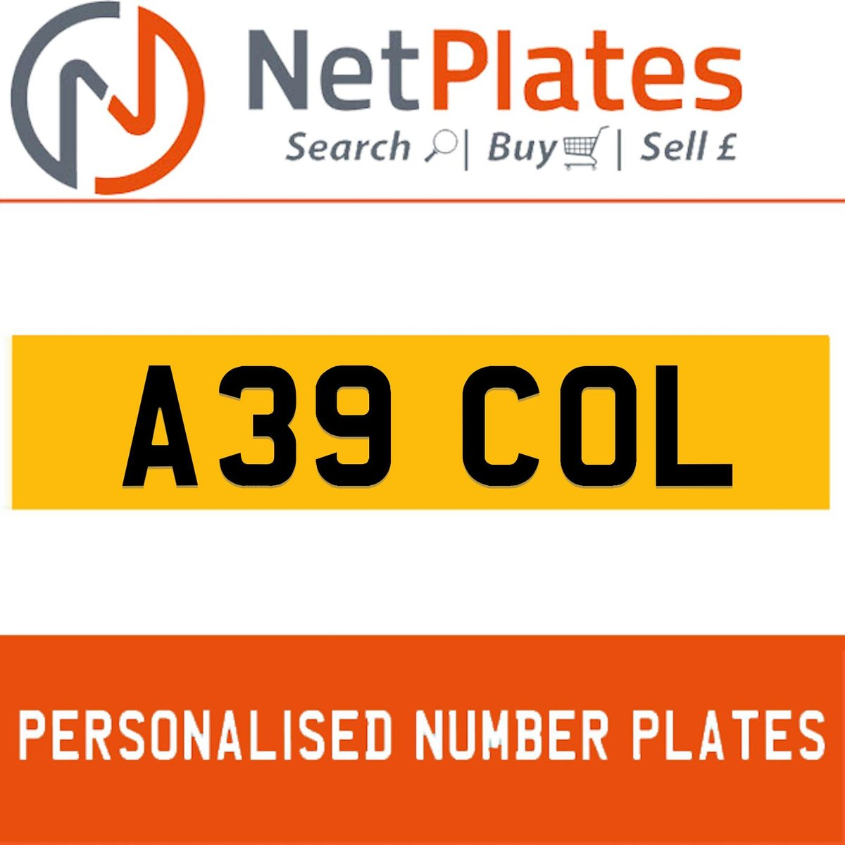 A39 COL PERSONALISED PRIVATE CHERISHED DVLA NUMBER PLATE For Sale (picture 1 of 5)