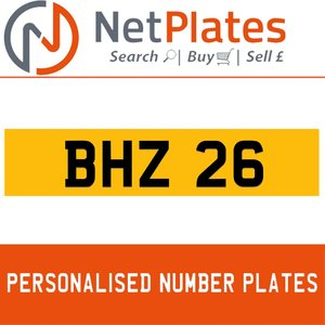 BHZ 26 PERSONALISED PRIVATE CHERISHED DVLA NUMBER PLATE For Sale