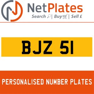 BJZ 51 PERSONALISED PRIVATE CHERISHED DVLA NUMBER PLATE For Sale