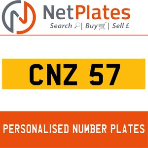 CNZ 57 PERSONALISED PRIVATE CHERISHED DVLA NUMBER PLATE For Sale