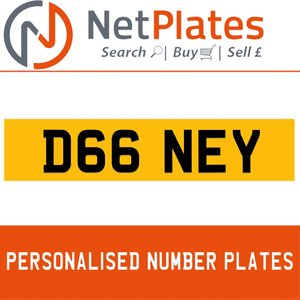 D66 NEY PERSONALISED PRIVATE CHERISHED DVLA NUMBER PLATE