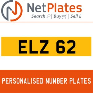 ELZ 62 PERSONALISED PRIVATE CHERISHED DVLA NUMBER PLATE For Sale