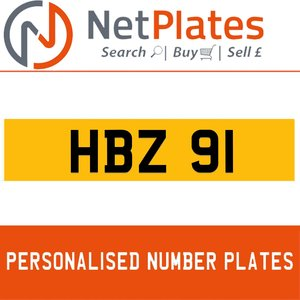 HBZ 91 PERSONALISED PRIVATE CHERISHED DVLA NUMBER PLATE For Sale