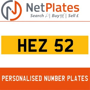 HEZ 52 PERSONALISED PRIVATE CHERISHED DVLA NUMBER PLATE For Sale