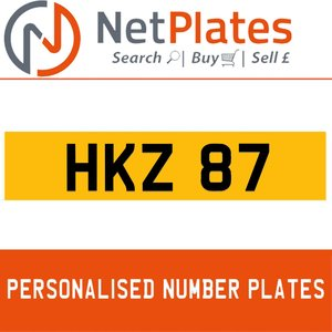 HKZ 87 PERSONALISED PRIVATE CHERISHED DVLA NUMBER PLATE For Sale