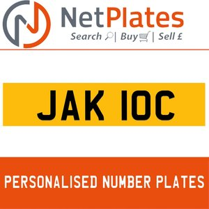JAK 10C PERSONALISED PRIVATE CHERISHED DVLA NUMBER PLATE For Sale