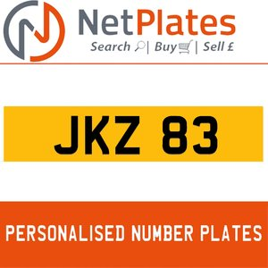 JKZ 83 PERSONALISED PRIVATE CHERISHED DVLA NUMBER PLATE For Sale