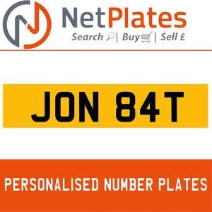 JON 84T PERSONALISED PRIVATE CHERISHED DVLA NUMBER PLATE For Sale