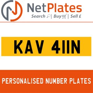 KAV 411N PERSONALISED PRIVATE CHERISHED DVLA NUMBER PLATE For Sale