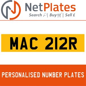 MAC 212R PERSONALISED PRIVATE CHERISHED DVLA NUMBER PLATE For Sale