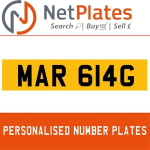 MAR 614G PERSONALISED PRIVATE CHERISHED DVLA NUMBER PLATE For Sale