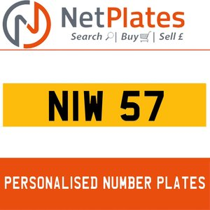 NIW 57 PERSONALISED PRIVATE CHERISHED DVLA NUMBER PLATE For Sale