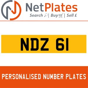 NDZ 61 PERSONALISED PRIVATE CHERISHED DVLA NUMBER PLATE For Sale