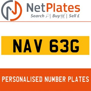 NAV 63G PERSONALISED PRIVATE CHERISHED DVLA NUMBER PLATE For Sale