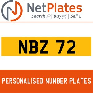 NBZ 72 PERSONALISED PRIVATE CHERISHED DVLA NUMBER PLATE For Sale