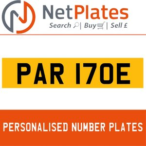 PAR 170E PERSONALISED PRIVATE CHERISHED DVLA NUMBER PLATE For Sale