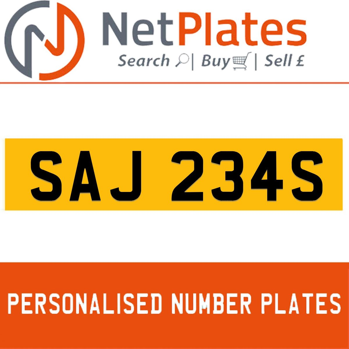 SAJ 234S PERSONALISED PRIVATE CHERISHED DVLA NUMBER PLATE For Sale (picture 1 of 5)