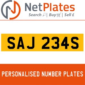 SAJ 234S PERSONALISED PRIVATE CHERISHED DVLA NUMBER PLATE For Sale
