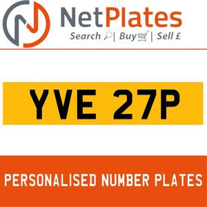 YVE 27P PERSONALISED PRIVATE CHERISHED DVLA NUMBER PLATE For Sale