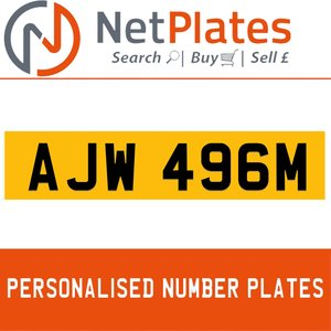 AJW 496M PERSONALISED PRIVATE CHERISHED DVLA NUMBER PLATE For Sale
