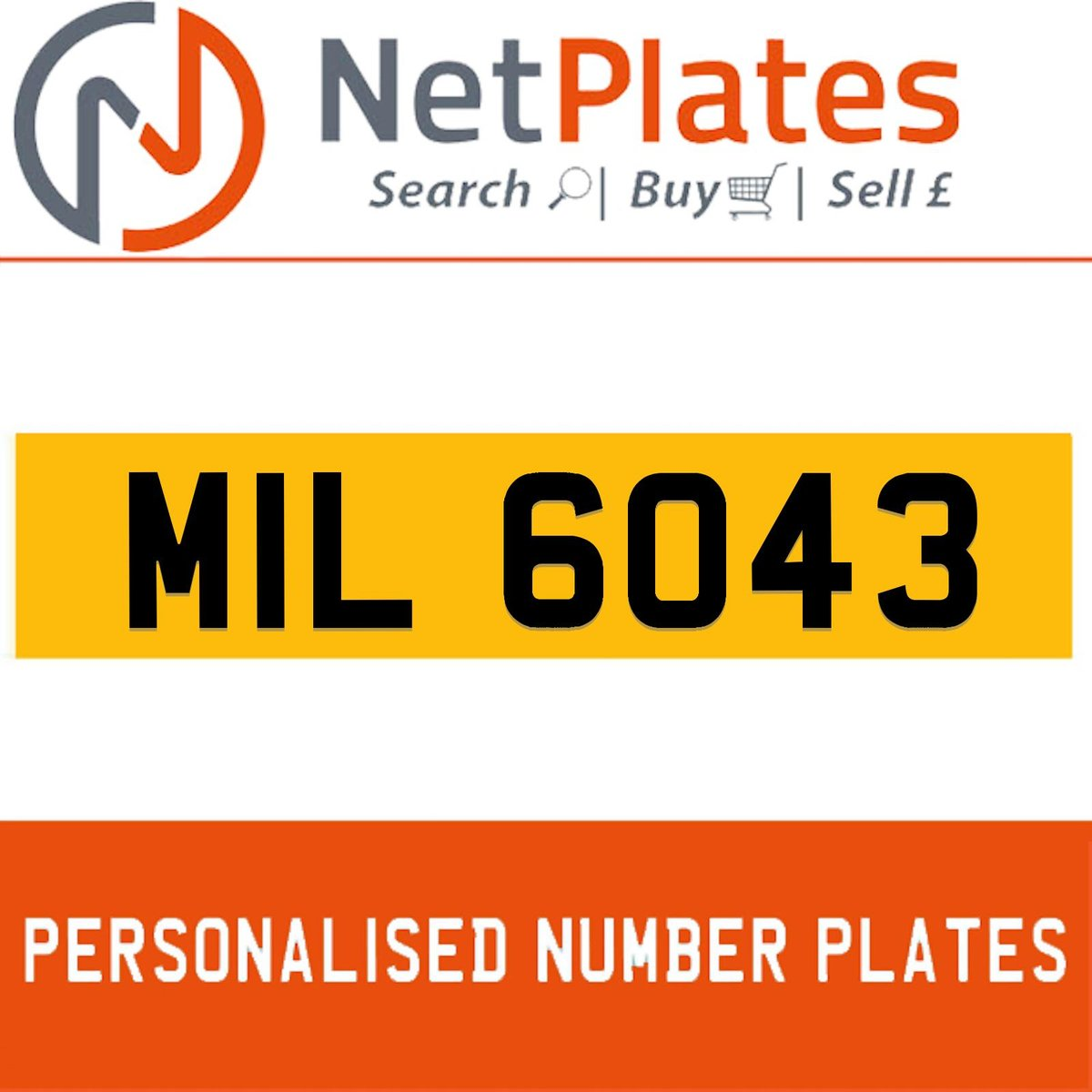 MIL 6043 PERSONALISED PRIVATE CHERISHED DVLA NUMBER PLATE For Sale (picture 1 of 5)
