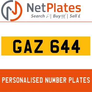 GAZ 644 PERSONALISED PRIVATE CHERISHED DVLA NUMBER PLATE For Sale
