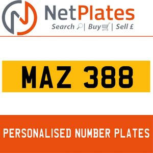 MAZ 388 PERSONALISED PRIVATE CHERISHED DVLA NUMBER PLATE