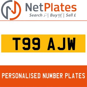 T99 AJW PERSONALISED PRIVATE CHERISHED DVLA NUMBER PLATE For Sale