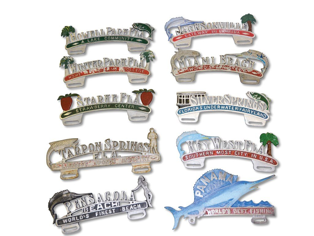 Ten Florida Cast Aluminum License Plate Attachments For Sale by Auction (picture 1 of 1)
