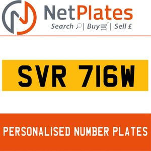 SVR 716W PERSONALISED PRIVATE CHERISHED DVLA NUMBER PLATE For Sale