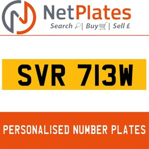 SVR 713W PERSONALISED PRIVATE CHERISHED DVLA NUMBER PLATE For Sale