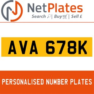 AVA 678K PERSONALISED PRIVATE CHERISHED DVLA NUMBER PLATE
