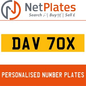 DAV 70X PERSONALISED PRIVATE CHERISHED DVLA NUMBER PLATE For Sale