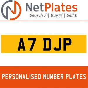 A7 DJP PERSONALISED PRIVATE CHERISHED DVLA NUMBER PLATE For Sale