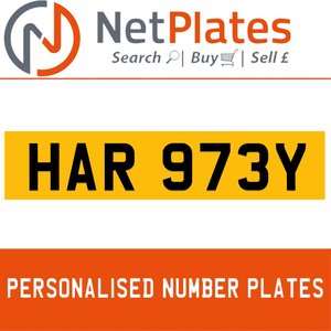 HAR 973Y PERSONALISED PRIVATE CHERISHED DVLA NUMBER PLATE