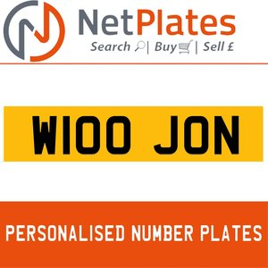 W100 JON PERSONALISED PRIVATE CHERISHED DVLA NUMBER PLATE For Sale