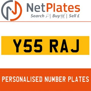 Y55 RAJ PERSONALISED PRIVATE CHERISHED DVLA NUMBER PLATE For Sale