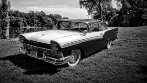 1957 Ford Fairlane 500 HardTop = Clean Black Driver $28.5k