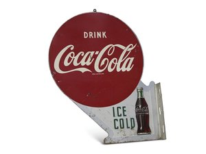 """""""Drink Ice Cold Coca-Cola"""" Double-Sided Flange Sign For Sale by Auction"""