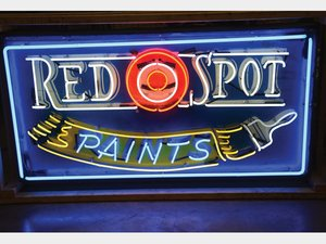 Red Spot Paints Neon Added Tin Sign For Sale by Auction
