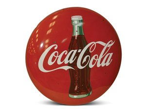 Coca-Cola with Bottle Button Porcelain Sign For Sale by Auction