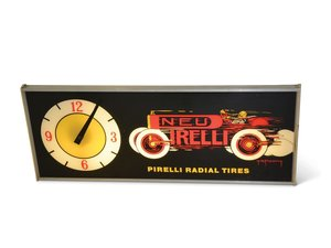 """""""Pirelli Radial Tires"""" with Race Car Plastic Lighted Clock For Sale by Auction"""