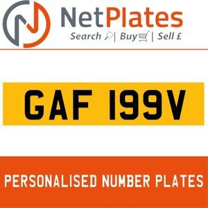 GAF 199V PERSONALISED PRIVATE CHERISHED DVLA NUMBER PLATE For Sale