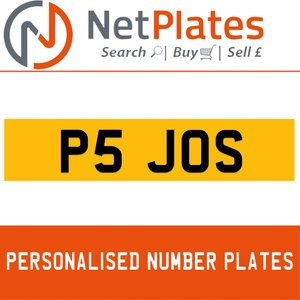 P5 JOS PERSONALISED PRIVATE CHERISHED DVLA NUMBER PLATE For Sale
