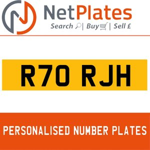 R70 RJH PERSONALISED PRIVATE CHERISHED DVLA NUMBER PLATE For Sale
