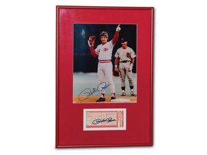 Pete Rose Autographed Photograph and Ticket Stub For Sale by Auction