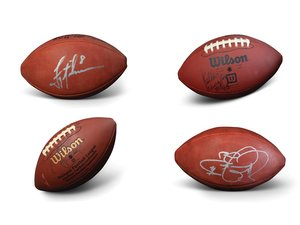 NFL Autographed Footballs, Including Hall of Famer Kellen Wi For Sale by Auction