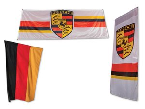 German Flag and Pair of Porsche Banners For Sale by Auction
